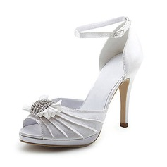 Women's Satin Stiletto Heel Peep Toe Sandals With Bowknot Buckle Rhinestone